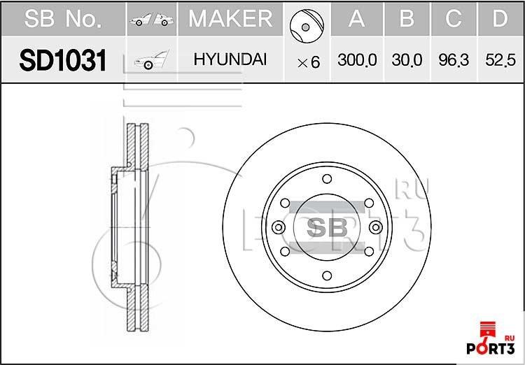 SD1031 Диск тормозной передний Hyundai GRAND STAREX 07- SANGSIN (Сангшин) - описание, фото, аналоги